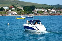 Boats in Swanage bay. Royalty Free Stock Images