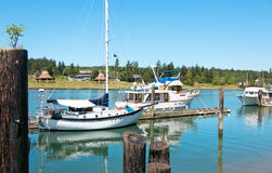 Boats on the Swinomish Channel Stock Photography