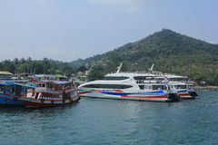 Boats take tourists to dive. April 8, 2014 tourist boats waiting to go snorkeling at Koh Tao, Surat Thani, Thailand Stock Photos