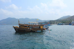 Boats take tourists to dive. April 8, 2014 tourist boats waiting to go snorkeling at Koh Tao, Surat Thani, Thailand Royalty Free Stock Image