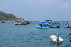 Boats take tourists to dive. April 8, 2014 tourist boats waiting to go snorkeling at Koh Tao, Surat Thani, Thailand royalty free stock photos