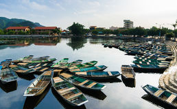 Boats in Tam Coc wharf Royalty Free Stock Photo