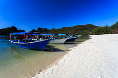 Boats at Tanjung Rhu Beach in Langkawi, Malaysia Stock Images