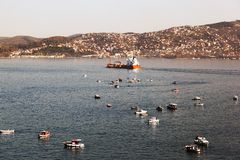 Boats, tankers, fishing boats and coast guard in bosphorus, Istanbul.  Stock Photography