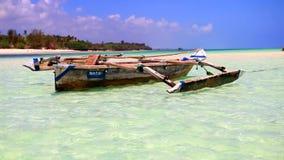 Boats on Tanzania beach stock footage