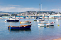 Boats Teign river Teignmouth Devon tourist town with blue sky Royalty Free Stock Photography