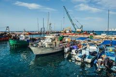 Boats in Tel Aviv. Tel Aviv, Israel - October 20, 2015. Fishing cutters in Jaffa also called Japho or Joppa, former port city, now part of Tel Aviv Stock Image
