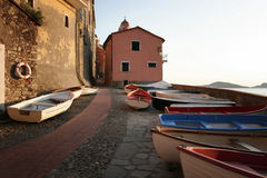 Boats in Tellaro royalty free stock photography