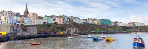 Boats in Tenby harbour Pembrokeshire Wales UK Stock Images