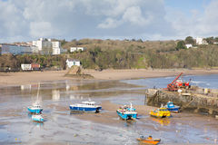 Boats in Tenby harbour Pembrokeshire Wales UK Royalty Free Stock Images