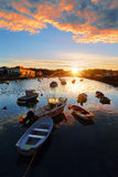 Boats in th river of Plentzia at sunrise Royalty Free Stock Photo