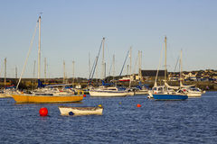 Boats on their moorings beside Cockle Island in the natural tidal harbour at Groomsport in Co Down,Northern Ireland with  Belfast Stock Image