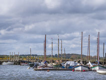 Boats at their moorings Morston Norfolk Stock Image