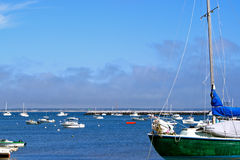 Boats on their Moorings in Provincetown Harbor. Colorful boats moored in Provincetown Harbor, Cape Cod, USA Royalty Free Stock Images