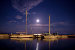 Boats Tied At A Pier On Corfu Island Stock Photography