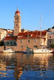 Boats tied at a harbor in Croatia Stock Photos