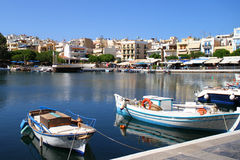 Boats Tied Up in the Bay of Voulismeni Lake - Greece, Crete, Agios Nikolaos Stock Images