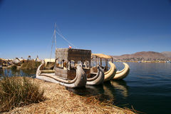 Boats On Titicaca Lake Royalty Free Stock Photos