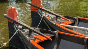 Boats to hire. For a trip through the canals in Giethoorn Holland Royalty Free Stock Photo