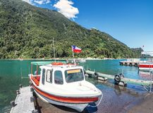Boats at Todos los Santos Lake - Los Lagos Region, Chile. Boats at Todos los Santos Lake in Los Lagos Region, Chile royalty free stock photos