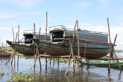 Boats on Tonle lake Stock Images