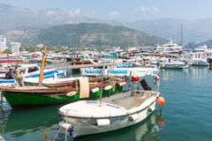 Boats for tourists in Montenegro Stock Photo