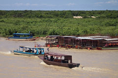 Boats with tourists on Tonle Sap Lake Royalty Free Stock Photo