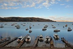 Boats in the town of Copacabana on lake Titicaca. Stock Photos