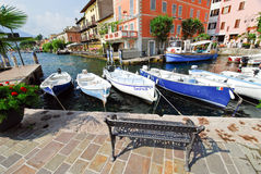 Boats in Town Limone Sul Garda, Lake Garda, Italy Stock Images