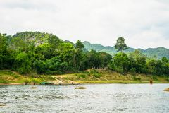 Boats for transporting tourists to Phong Nha cave, Phong Nha - Ke Bang national park, Viet Nam.  Stock Photo