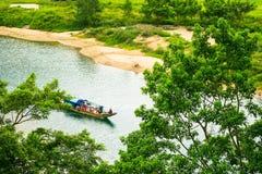 Boats for transporting tourists to Phong Nha cave, Phong Nha - Ke Bang national park, Viet Nam stock images