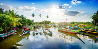 Boats in tropical bay Royalty Free Stock Photos