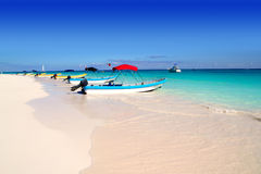 Boats in tropical beach  Caribbean summer Stock Images