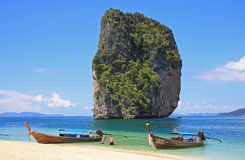Boats on tropical beach, Thailand Royalty Free Stock Image