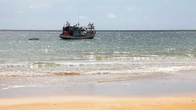 Boats in the tropical sea. Near the beach stock footage