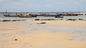Boats in the tropical sea. Near tropical beach. Thailand stock video footage