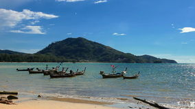 Boats in the tropical sea near beach. Thailand stock footage