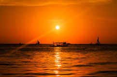 Boats and a tropical sunset Stock Photo
