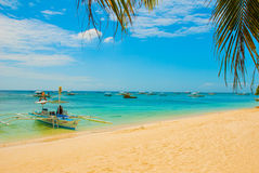 Boats at tropical white beach with sand beach of Panglao. Island, Bohol. Philippines. Boats at tropical white beach with sand beach of Panglao. Island, Bohol Royalty Free Stock Photography