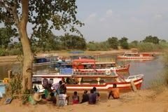 Boats on Tsiribhine river Stock Images