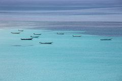 Boats at turquoise sea Stock Photo