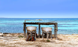 Boats. Two boats beached in formentera island, spain Stock Photos