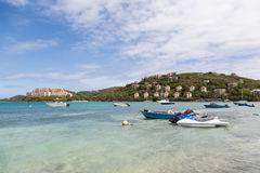 Boats by two Resorts Stock Photography