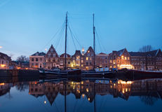 Boats and typical dutch houses Royalty Free Stock Photo