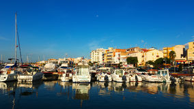Boats at typical mediterranean town Stock Photos