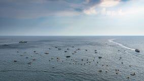 Boats on the Tyrrhenian sea on Amalfi coast Stock Photos