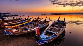 The boats at Ubein bridge, Mandalay, Myanmar Stock Images