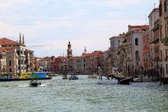 Boats and vaporetto in Grand Canal. Venice, Italy Royalty Free Stock Photos