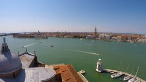 Boats and vaporettos sailing across Venice Canal, view from top, time-lapse. Stock footage stock video