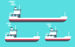 Boats vector illustration set, flat cartoon small, big transport ships, empty freight vessel and small ferry or fishing Royalty Free Stock Photos